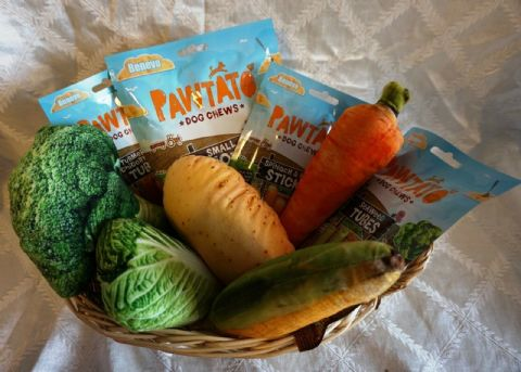 VEGAN VEGE DOG TOY BASKET FILLED WITH VEGAN TREATS AND REALISTIC VEGETABLE TOYS